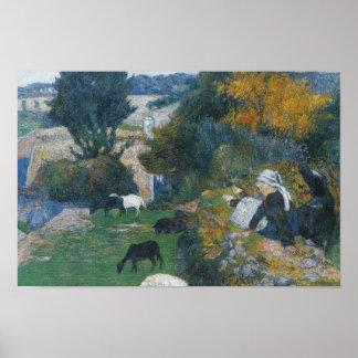 Paul Gauguin - der bretonische Shepherdess Poster