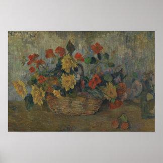 Paul Gauguin - Kapuzinerkäse und Dahlien Poster