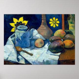 Paul Gauguin-Stillleben mit Teekanne und Frucht Poster