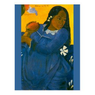 Paul Gauguins Frau mit einer Mango 1892 Postkarte