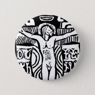 Paul Gauguins Holzschnitt des Kruzifixs Runder Button 5,7 Cm