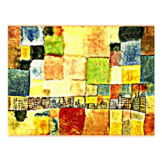 Paul Klee-Grafik, Neuer Stadtteil in M Postkarte