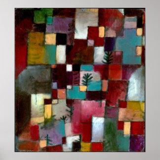 Paul Klee-rote grüne und Violett-Gelbe Rhythmen Poster