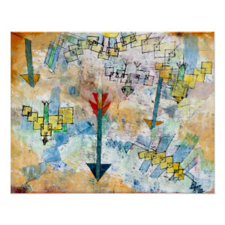 Paul Klee-Vögel, die unten Swooping sind und Poster