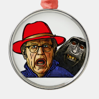 Pavianaffe erschrickt englischen alten Mann Silbernes Ornament