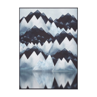 Paynes grauer Watercolor-GebirgsLeinwand-Druck Leinwanddruck