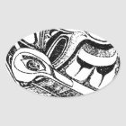 Pazifische Nanowatt-Küsten-gebürtiger Totem-Rabe Ovaler Aufkleber