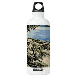 Pazifische Strand woodblock Art Aluminiumwasserflasche