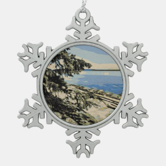 Pazifische Strand woodblock Art Schneeflocken Zinn-Ornament