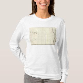 Pazifischer Ozean gravierte Karte T-Shirt