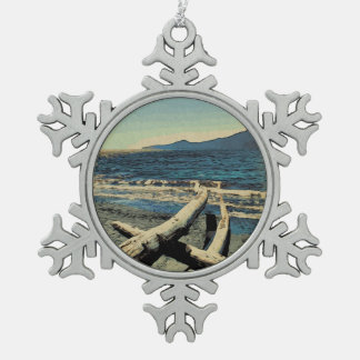 Pazifischer Strand Schneeflocken Zinn-Ornament