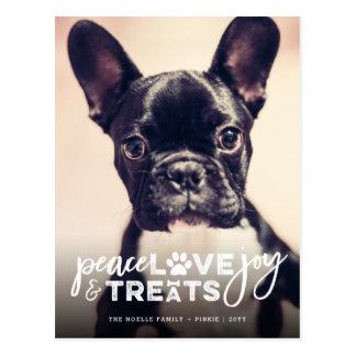 Peace Love Joy Treats Dog Holiday Photo Postcard Postkarte