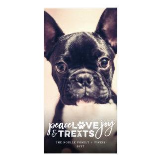 Peace Love Joy Treats Dog Lover Holiday Photo Card Karte