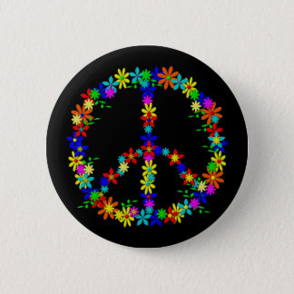 Peace Symbol Flower Power Runder Button 5,7 Cm
