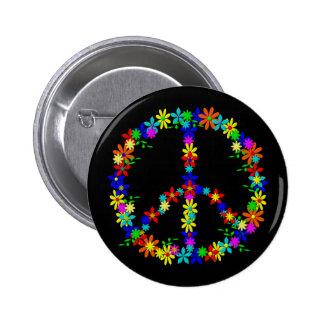 Peace Symbol Flower Power Runder Button 5,7 Cm