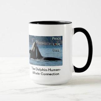 PeaceLoveFree.jpg, der Delphin-Menschlich-Wal Tasse