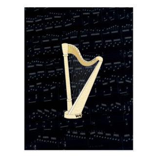 Pedal-Harfen-Musik Postkarte