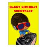 Peekaboo DJ Afro Grußkarte