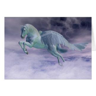 Pegasus, der durch Sturm-Wolken galoppiert Karte