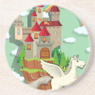 Pegasus, der über den Palast fliegt Sandstein Untersetzer