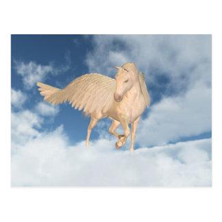 Pegasus, der unten durch Wolken schaut Postkarte
