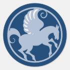 Pegasus im Kreis in circle Runder Aufkleber