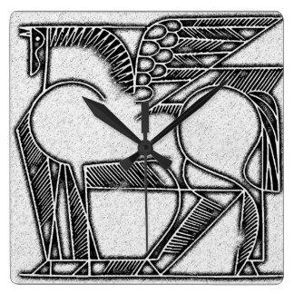 Pegasus-Uhr Quadratische Wanduhr
