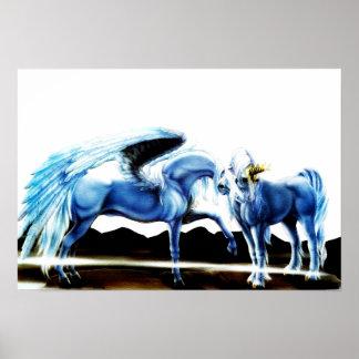 Pegasus und Einhorn Poster