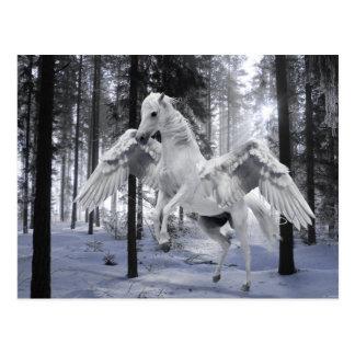 Pegasus Winged Fliegen-Pferdewaldschnee Postkarte