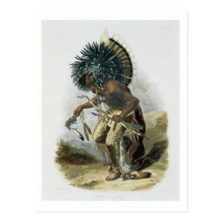 Pehriska-Ruhpa, Minatarre Krieger im Kostüm O Postkarte
