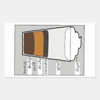 Peitsche-Milch-Espresso-Sirup-Schuld Rechteckiger Aufkleber