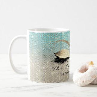 Peitschen-Erweiterungs-Schönheits-Studio-blauer Kaffeetasse