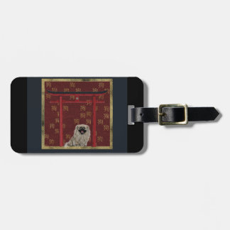 Pekingese Hund, roter asiatischer Bogen, Gepäckanhänger