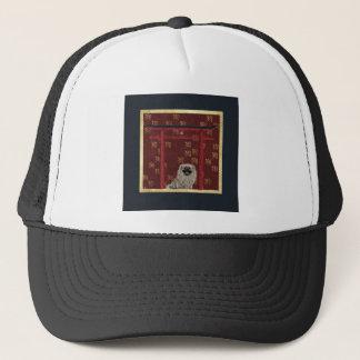 Pekingese Hund, roter asiatischer Bogen, Truckerkappe