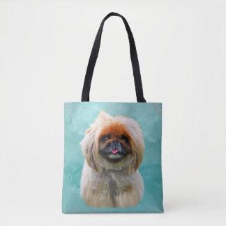 Pekingese HundeAquarell-Kunst-Porträt Tasche