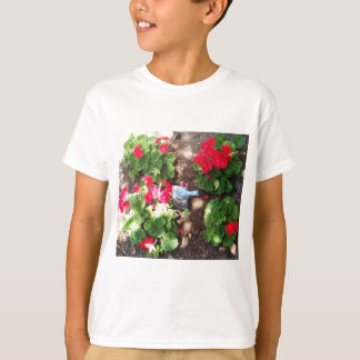 Pelargonien und Vogel T-Shirt