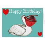 Pelican with birthday cake grußkarte