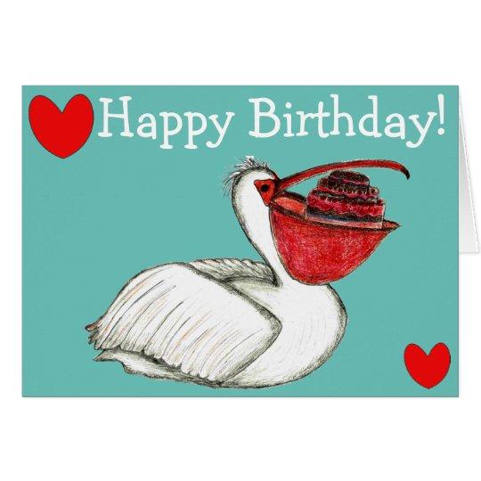Pelican with birthday cake karte