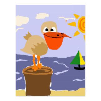 Pelikan an der Strand-Kunst Postkarte