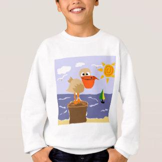 Pelikan an der Strand-Kunst Sweatshirt