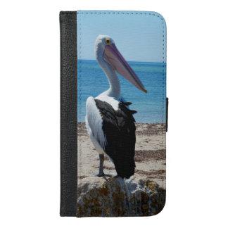 Pelikan auf Strand-Felsen, iPhone 6/6s Plus Geldbeutel Hülle