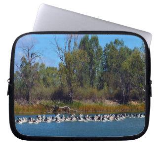 Pelikan-Fischen-Raserei, Fluss Murray, Laptopschutzhülle
