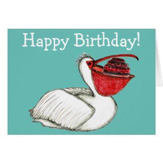 Pelikan mit Geburtstagskuchen Grußkarte