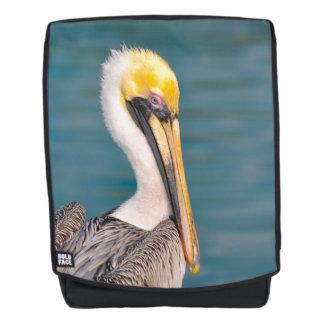 Pelikan-Porträt nah oben mit Ozean im Hintergrund Rucksack