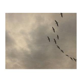 Pelikane über Havana Holzwanddeko