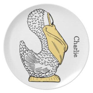 Pelikanillustrations-Name-Melaminplatte Teller
