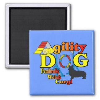 Pembroke-Walisercorgi-Agility-Shirt-Geschenke Quadratischer Magnet