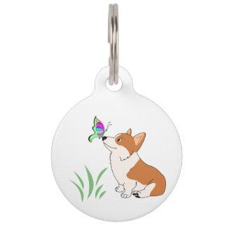 Pembroke-WaliserCorgi mit Schmetterling Haustiermarke