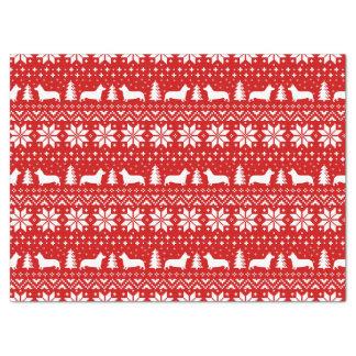 Pembroke-Walisercorgi-Silhouette-Weihnachtsmuster Seidenpapier