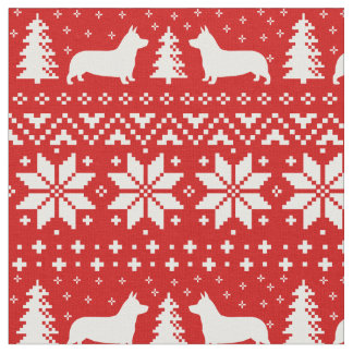 Pembroke-Walisercorgi-Silhouette-Weihnachtsmuster Stoff